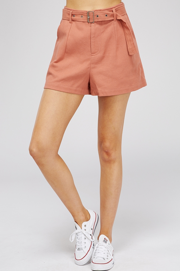 LINEN SHORTS WITH BELT - orangeshine.com