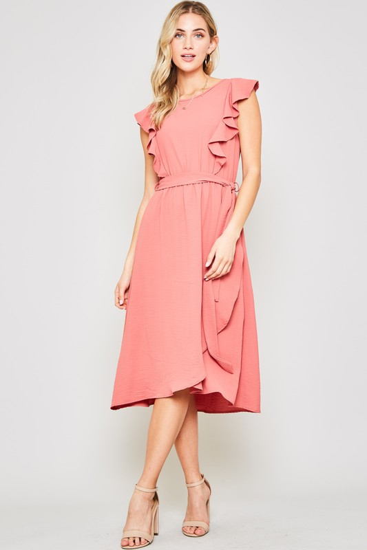 SOLID SHORT SLEEVE MIDI DRESS - orangeshine.com