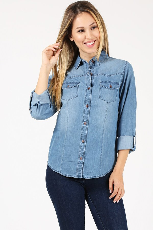Chambray Denim Shirt - orangeshine.com