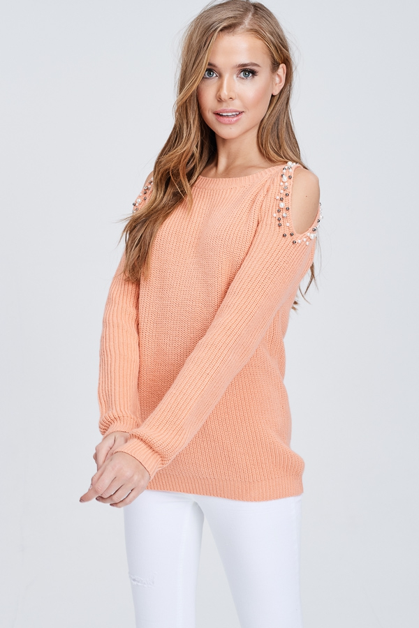 Cold Shoulder Knit Sweater With Pear - orangeshine.com