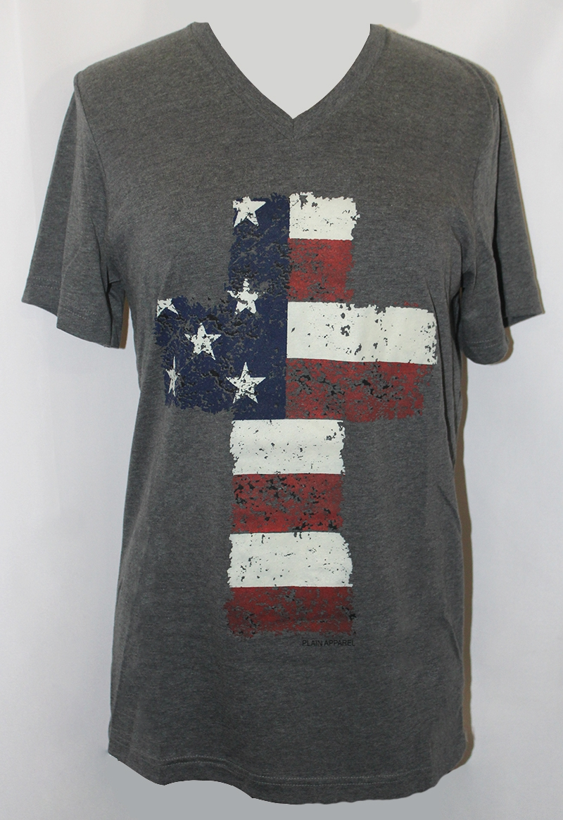 Flag Cross Gray V-Neck - orangeshine.com
