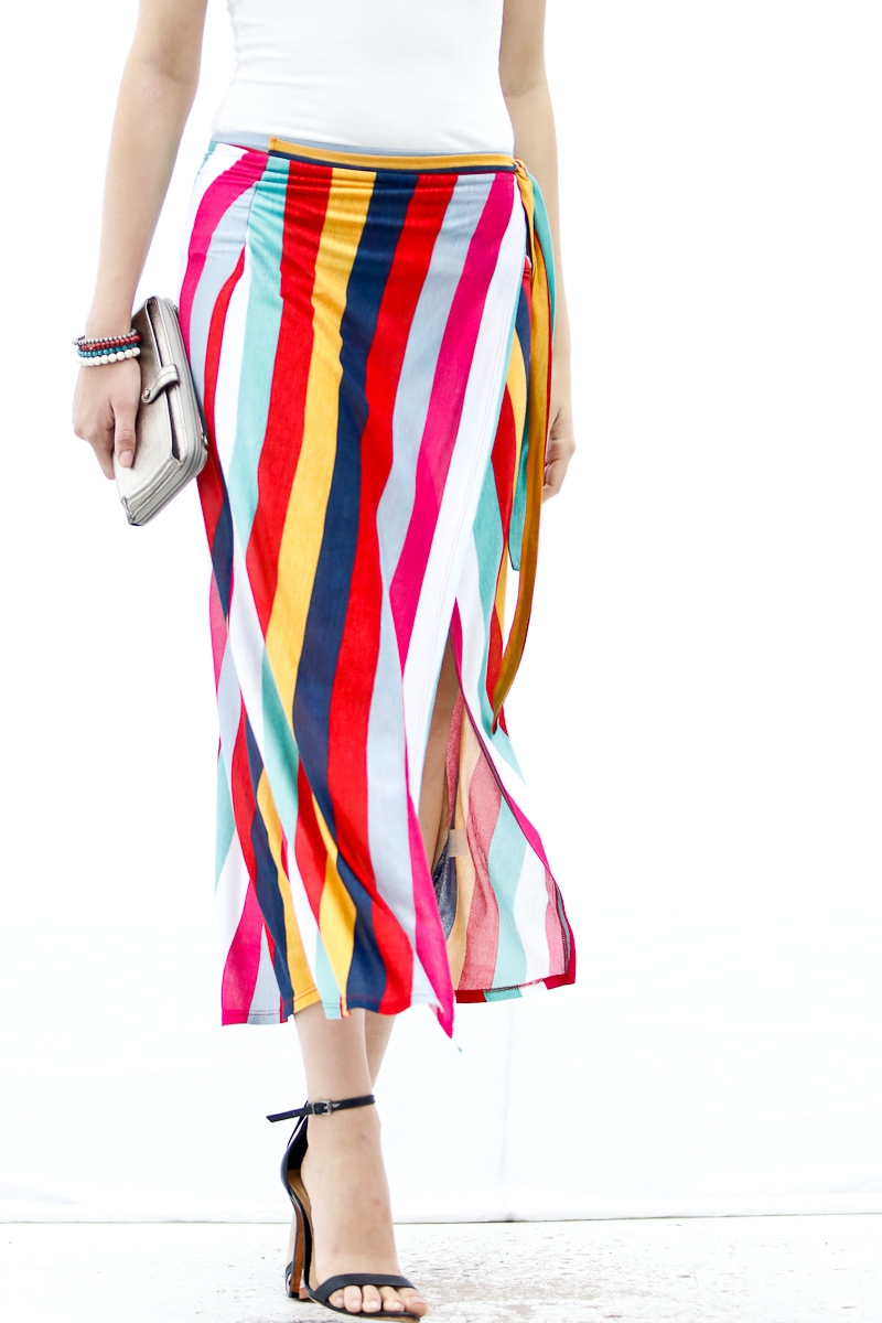 Multi colored stripe skirt - orangeshine.com