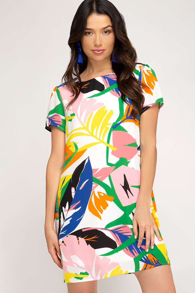 SHORT SLEEVE PRINTED WOVEN DRESS - orangeshine.com