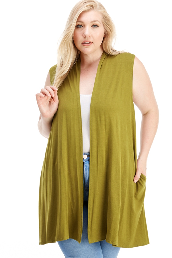 Plus Size Vest with Pockets - orangeshine.com