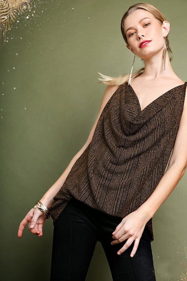 Lurex Cowl Neck Spaghetti Strap Top - orangeshine.com