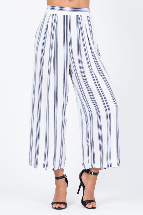 Blue and White Striped Wide Pants  - orangeshine.com