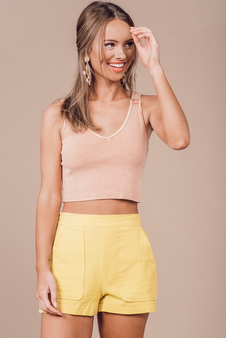 GARMENT DYE WASHED CROP TOP - orangeshine.com