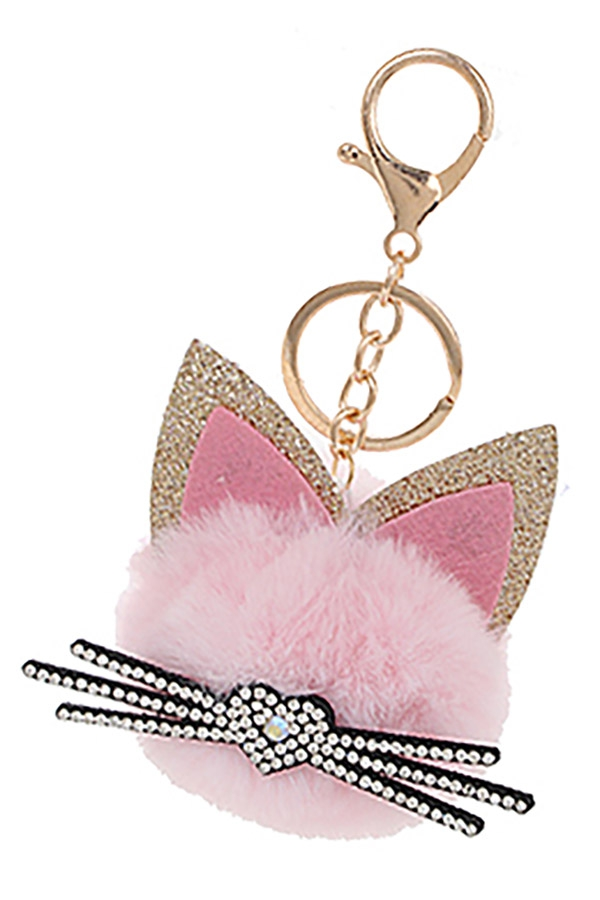 Cat Pompom Key Ring - orangeshine.com