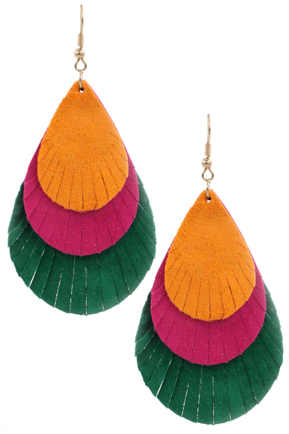 Layered genuine leather drop earring - orangeshine.com