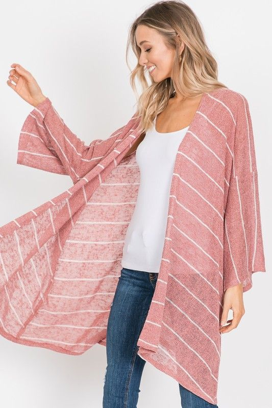 Yarn Dye Sweater Striped kimono - orangeshine.com