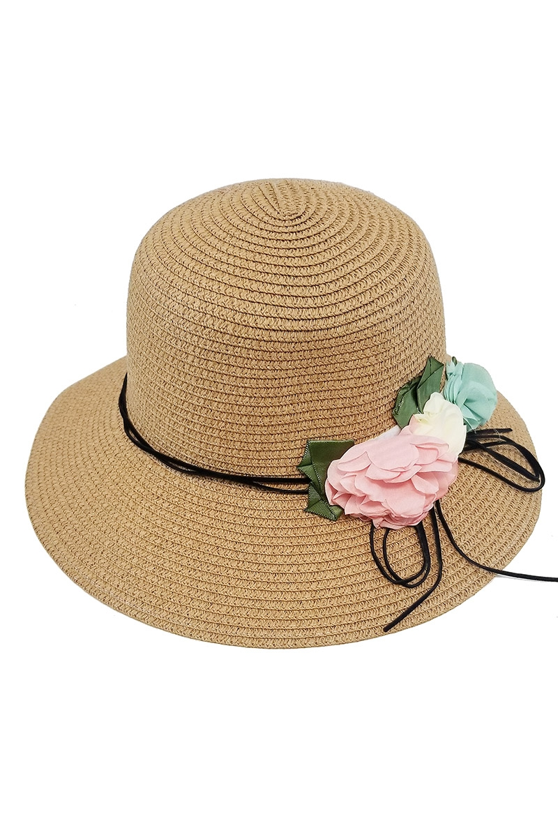 Flower Accent Straw Brim Hat - orangeshine.com