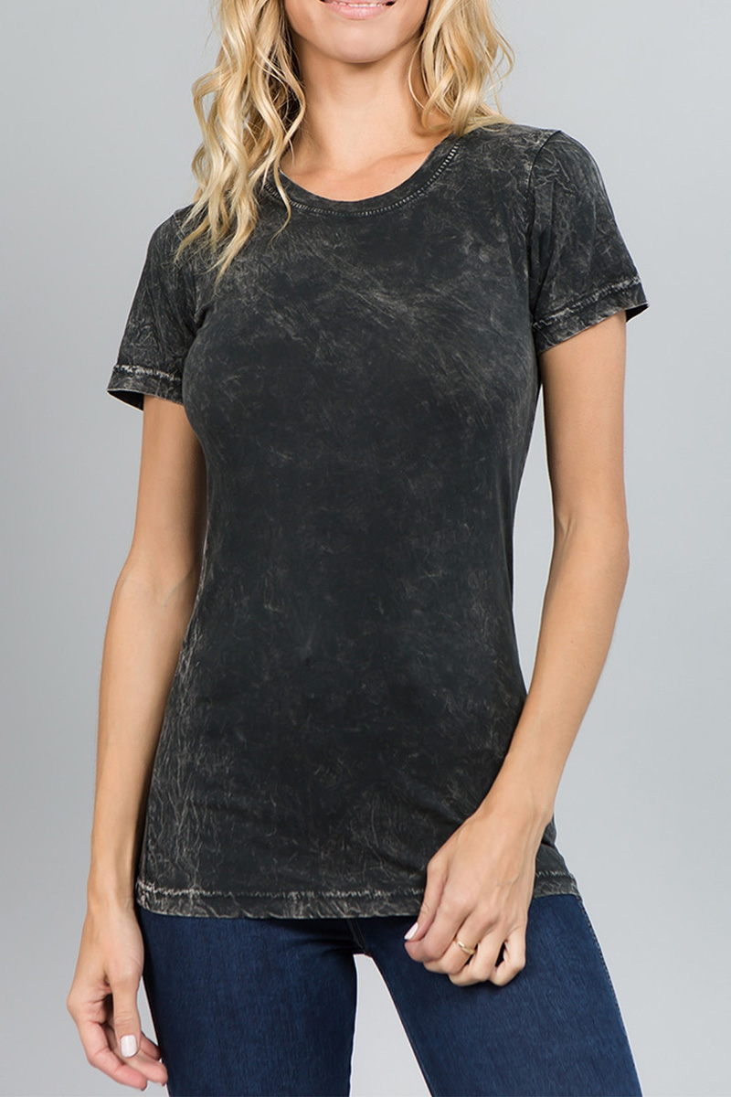 SHORT SLEEVE MINERAL WASH Round T - orangeshine.com