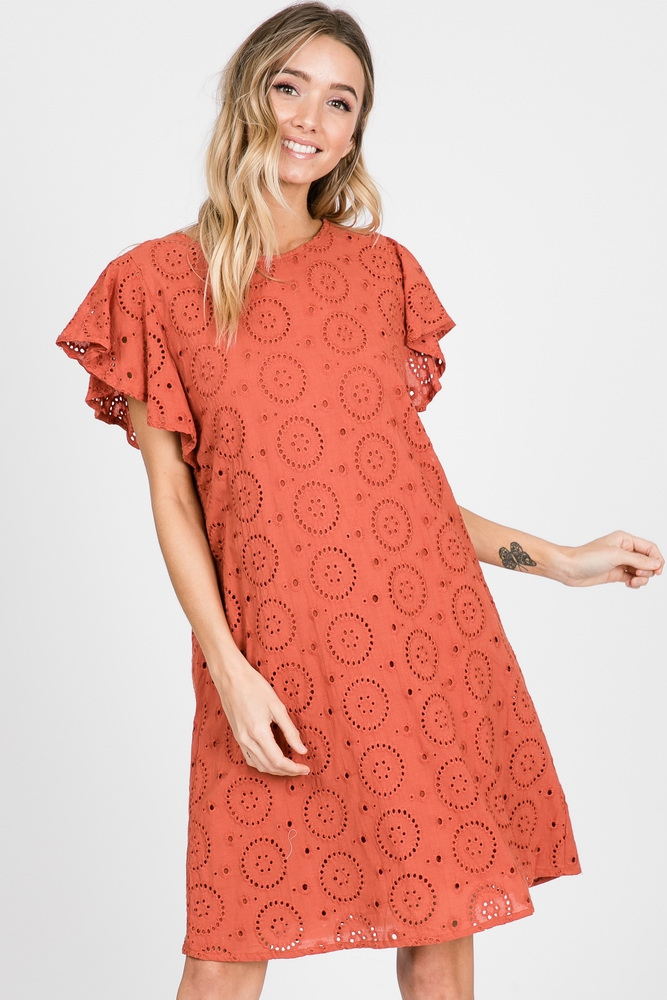 Cotton Eyelet Lace Shift Dress - orangeshine.com