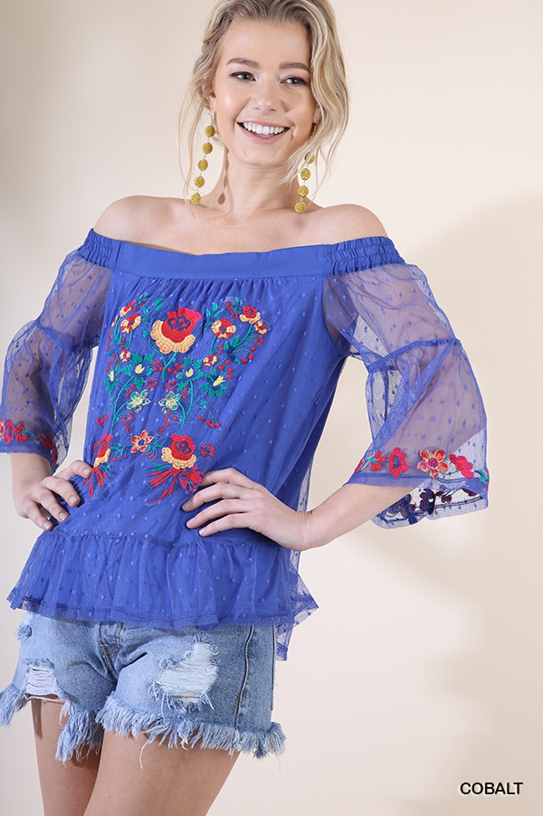 Floral Embroidered Sheer Top - orangeshine.com