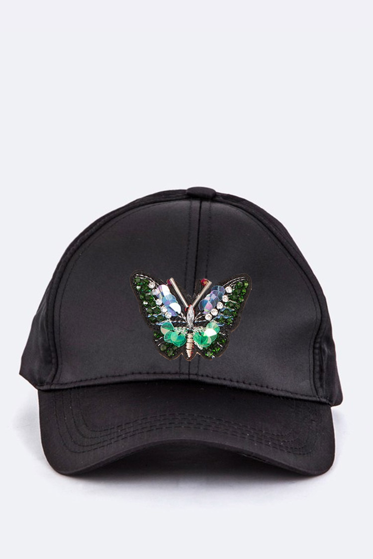 Sequins Butterfly Patch Satin Cap - orangeshine.com
