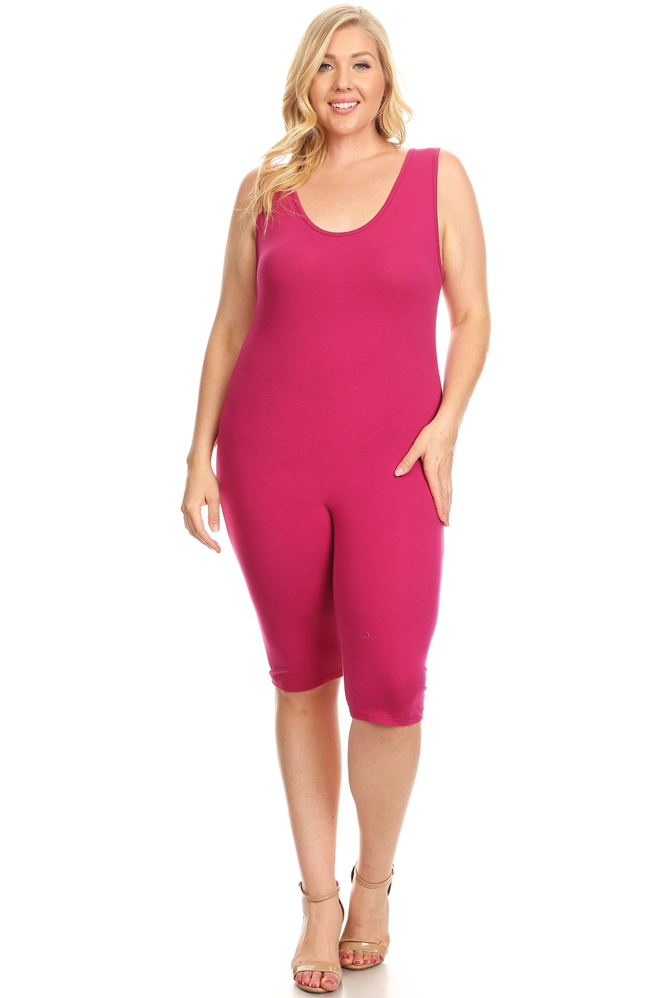 Plus Sleeveless Solid Capri Catsuit - orangeshine.com