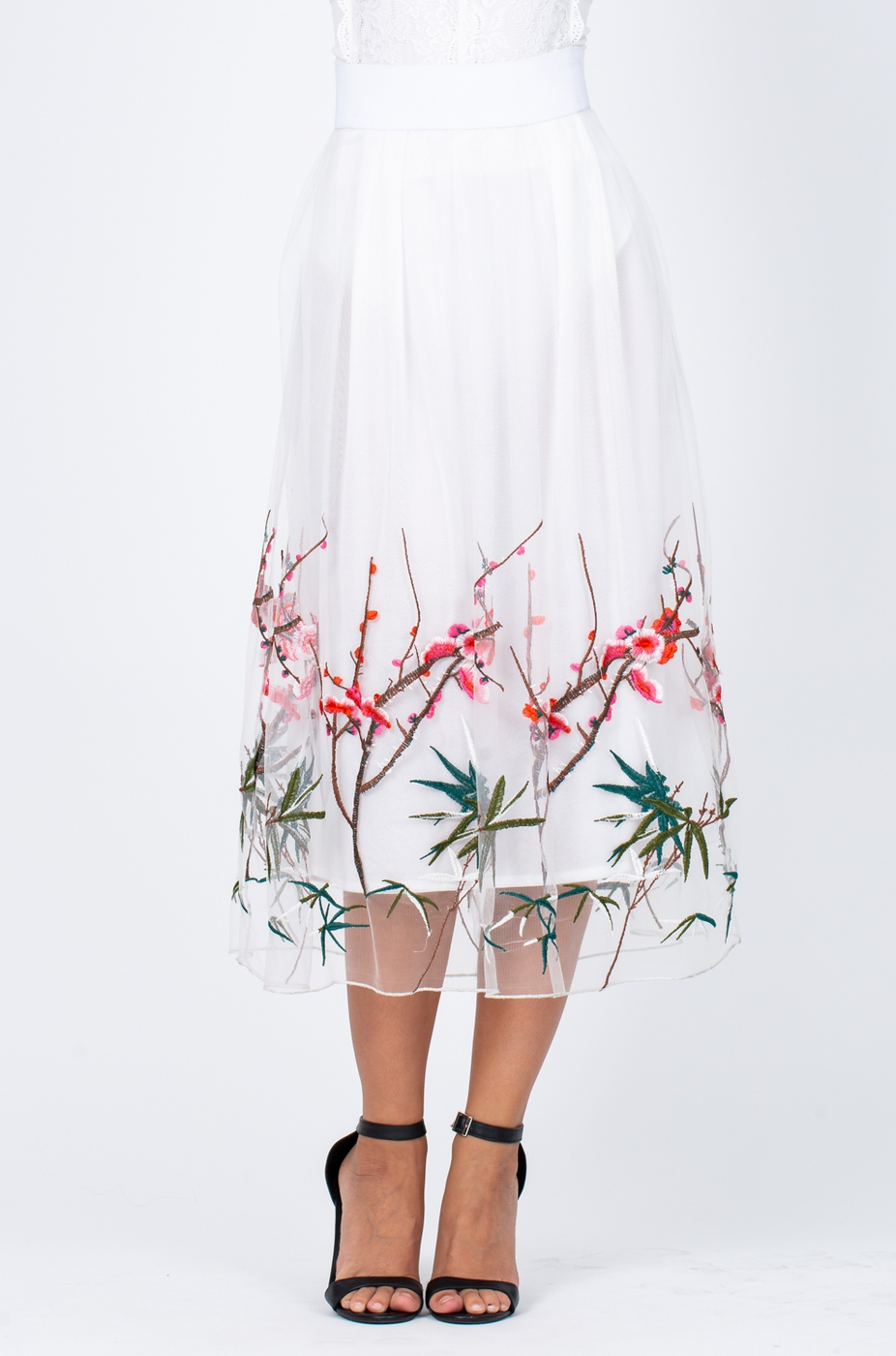 Floral Embroidered Sheer Overlay Mid - orangeshine.com