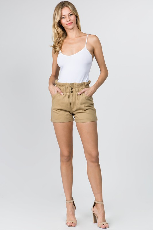 SHORTS WITH PAPERBAG WAIST AND BUTTO - orangeshine.com