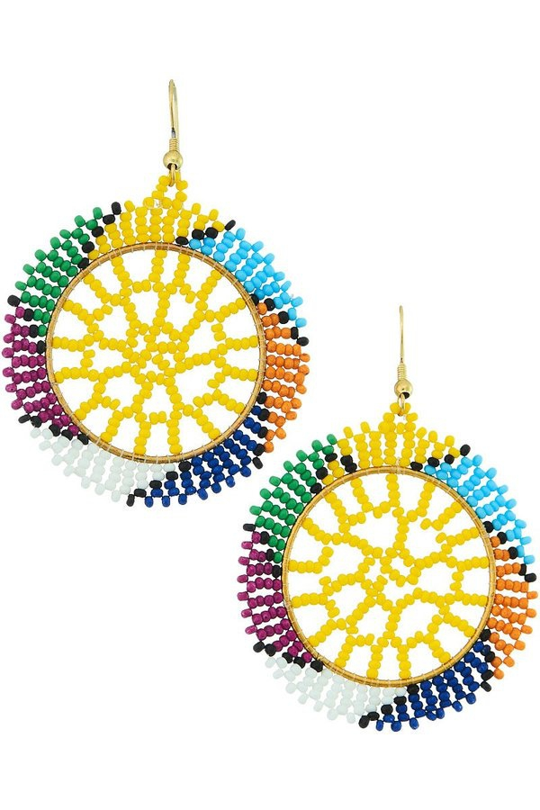 Seed bead round drop earrings. - orangeshine.com