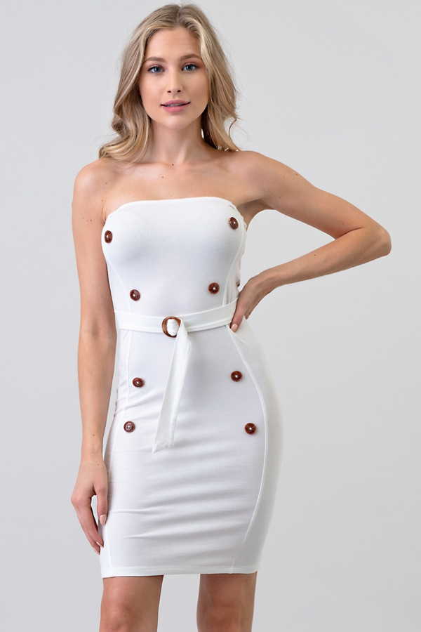 BUTTON AND BUCKLE TUBE DRESS - orangeshine.com
