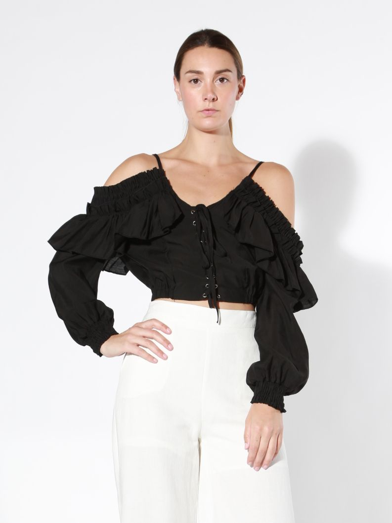 Cold Shoulder Top with Ruffle - orangeshine.com