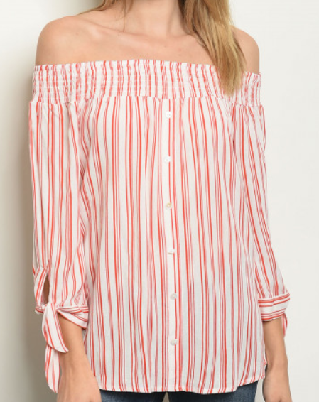Off Shoulder Stripes Blouse - orangeshine.com