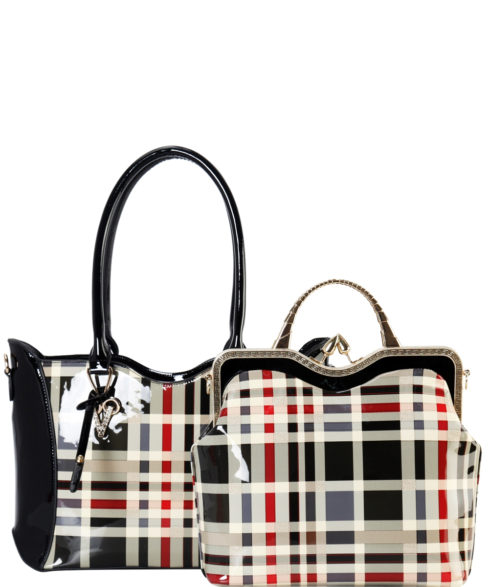 2in1Plaid Check Leatherette bag - orangeshine.com