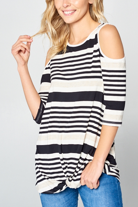 ENGINEERING STRIPE COLD SHOULDER TOP - orangeshine.com