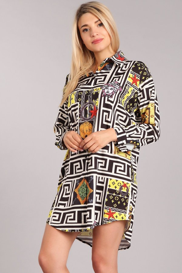 Abstract print button down tunic - orangeshine.com