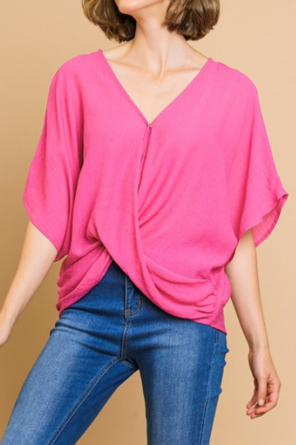 Dolman Sleeve V-Neck Crossbody Top - orangeshine.com