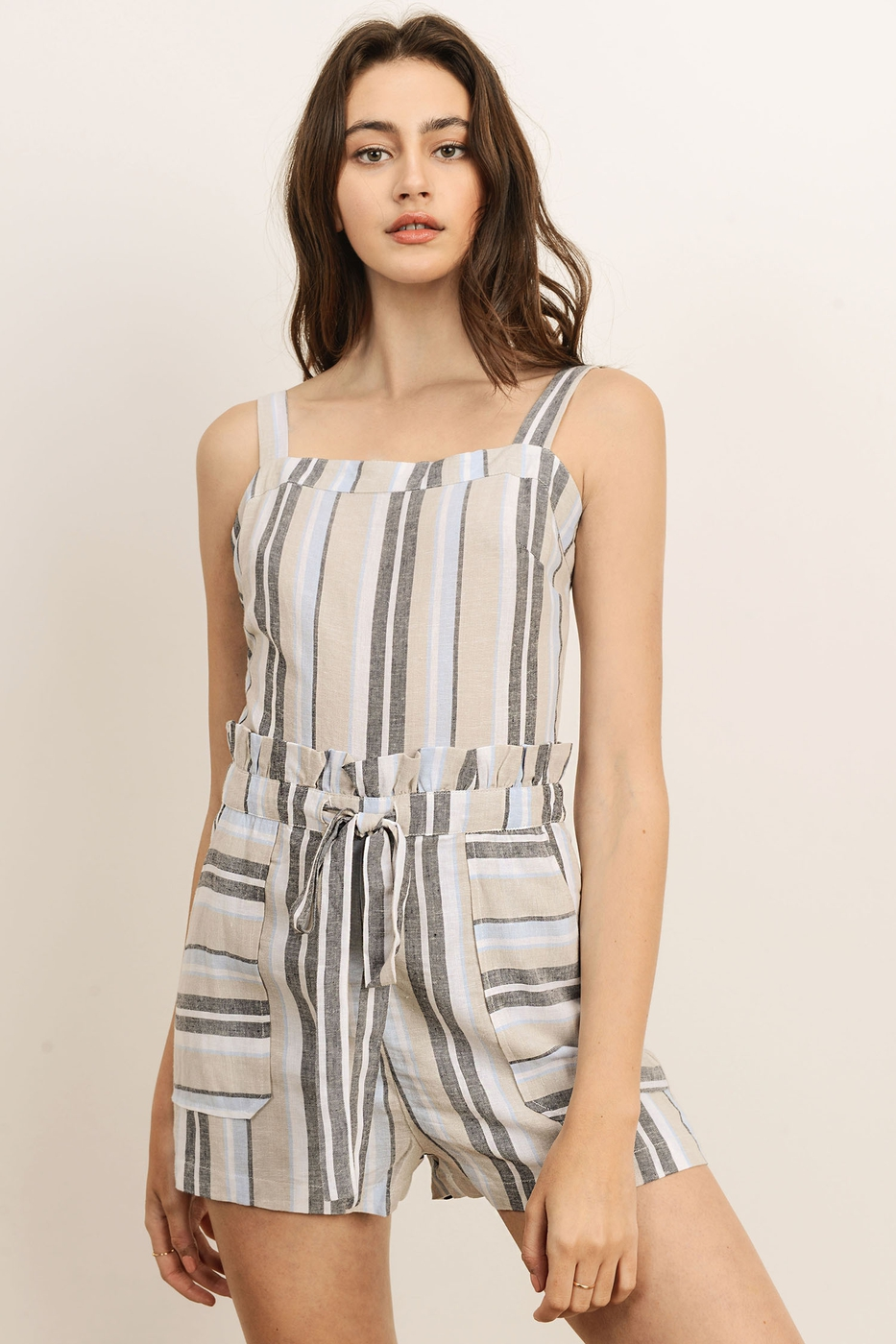 STRIPED ROMPER WITH POCKETS FRONT TI - orangeshine.com