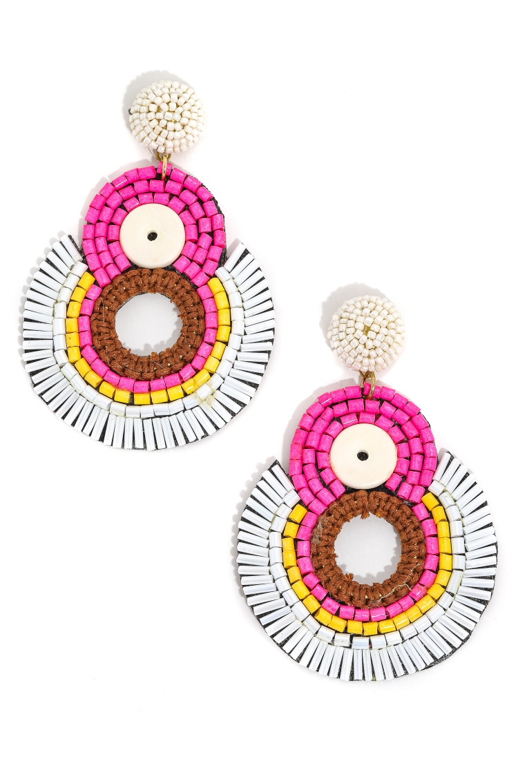 Seed Beaded Multi Disc Earrings - orangeshine.com