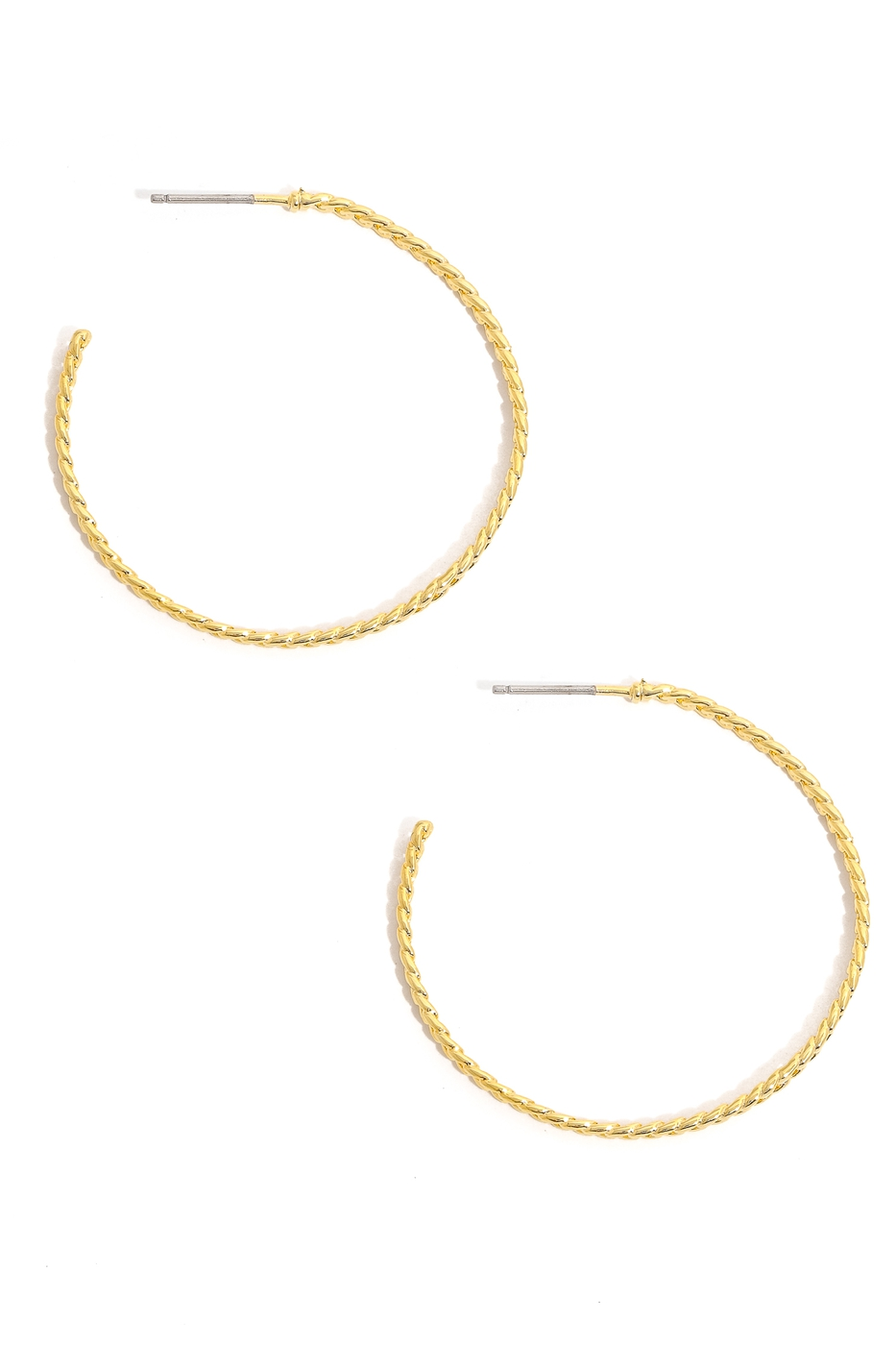 Dainty Metallic Rope Hoop Earrings - orangeshine.com