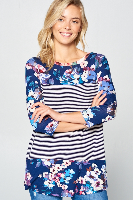 FLORAL &  PIN STRIPE MIXD 3/4 SL TOP - orangeshine.com