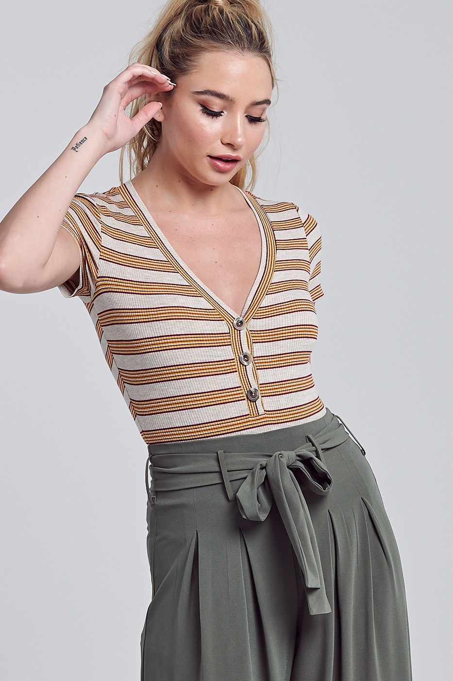 STRIPED BODYSUIT - orangeshine.com