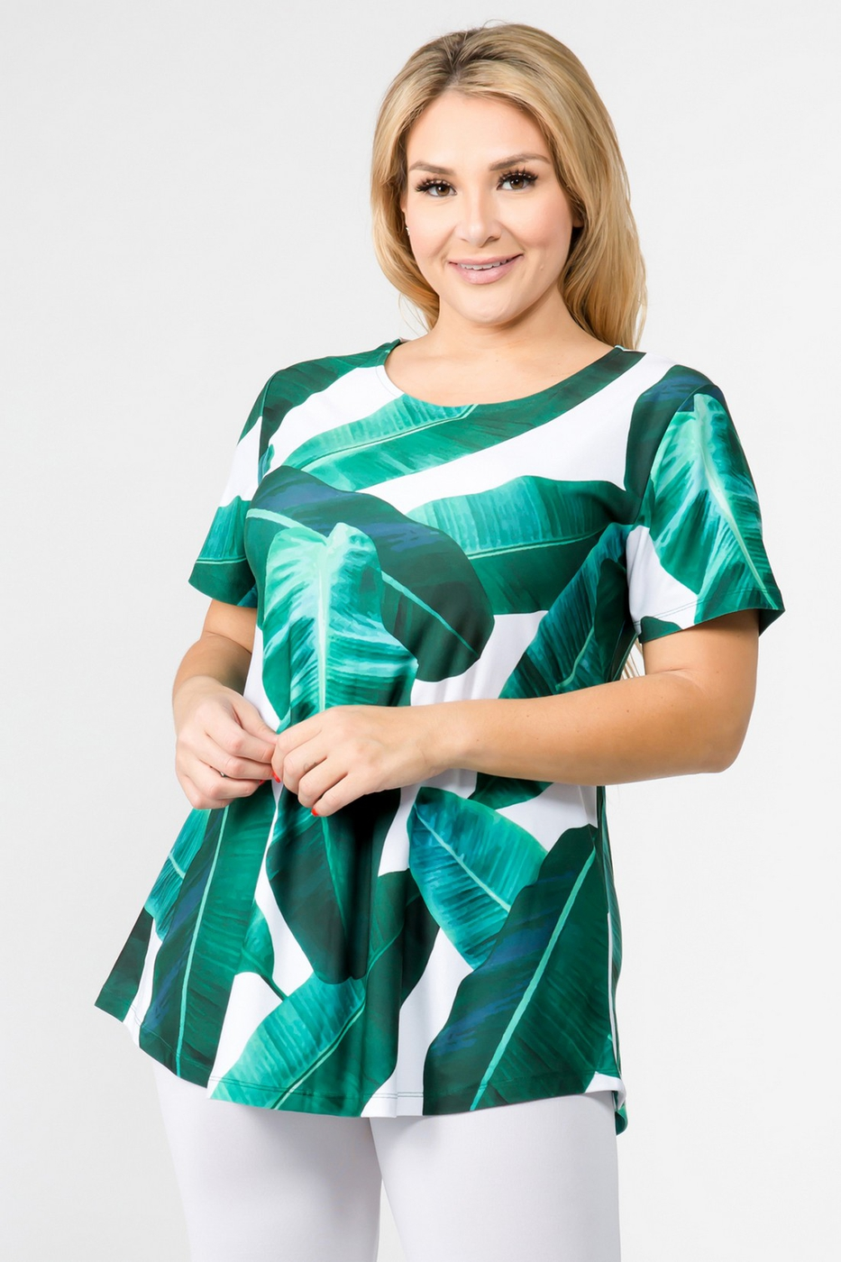 Palm Leaf Print Tunic Top - orangeshine.com