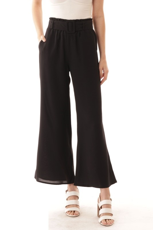 BUCKLE BELT WIDE PANTS - orangeshine.com