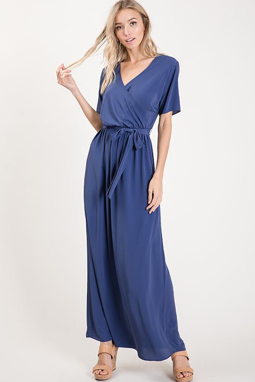 Woven solid maxi dress - orangeshine.com