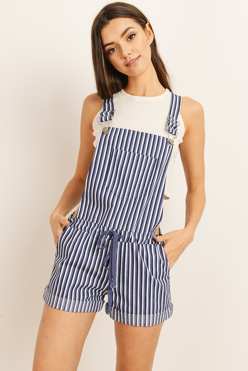 BLUE STRIPED OVERALLS POCKET - orangeshine.com