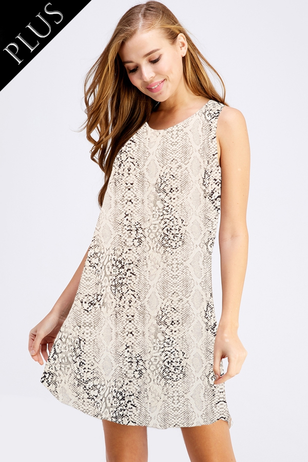 SNAKE SKIN FLOWY DRESS - orangeshine.com