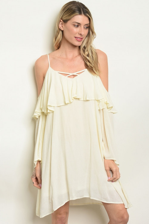 LONG SLEEVE FLOUNCE CRISSCROSS DRESS - orangeshine.com