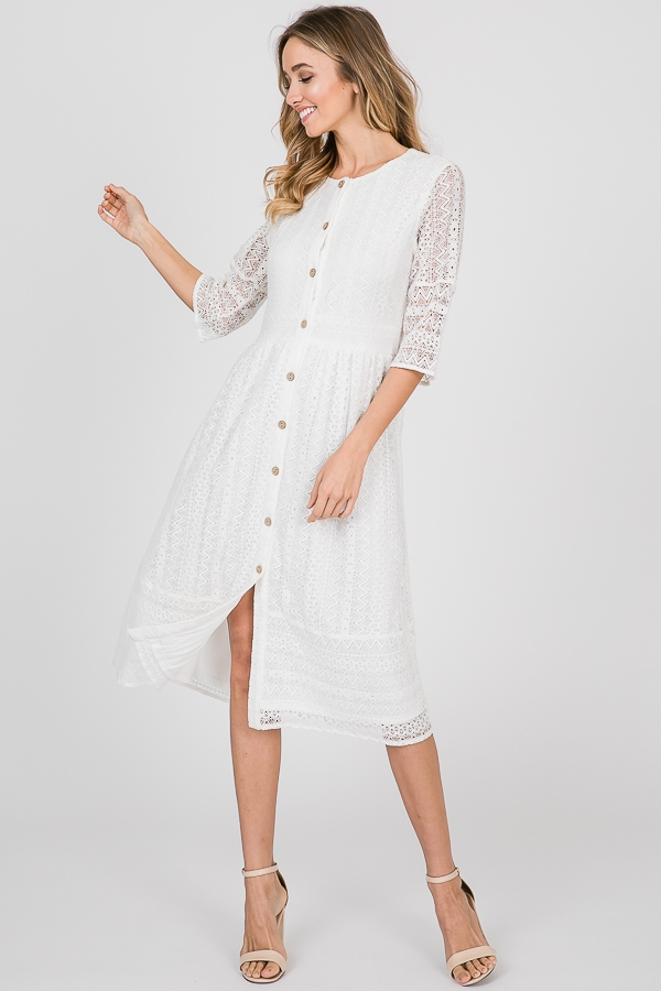 BUTTON UP LACE MIDI DRESS - orangeshine.com