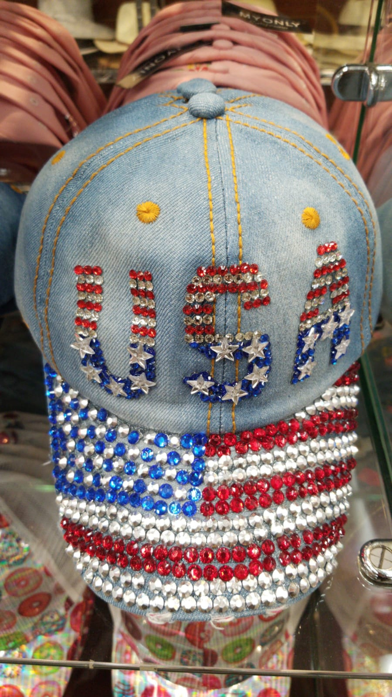COLOR RHINESTONES US FLAG CAP - orangeshine.com