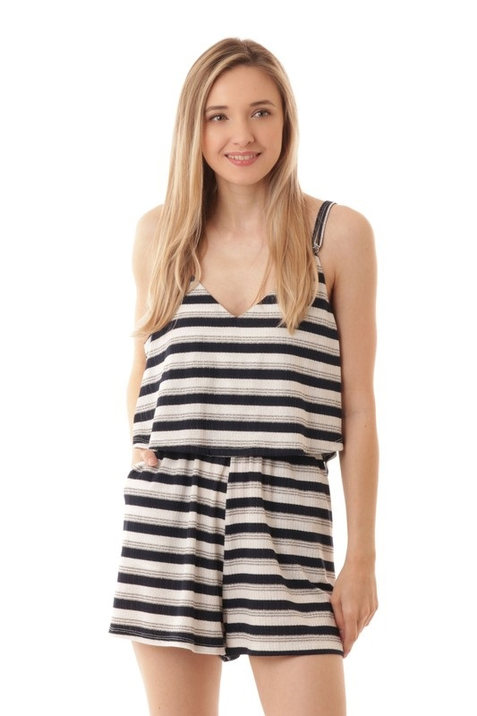 STRIPE SHORT ROMPER - orangeshine.com