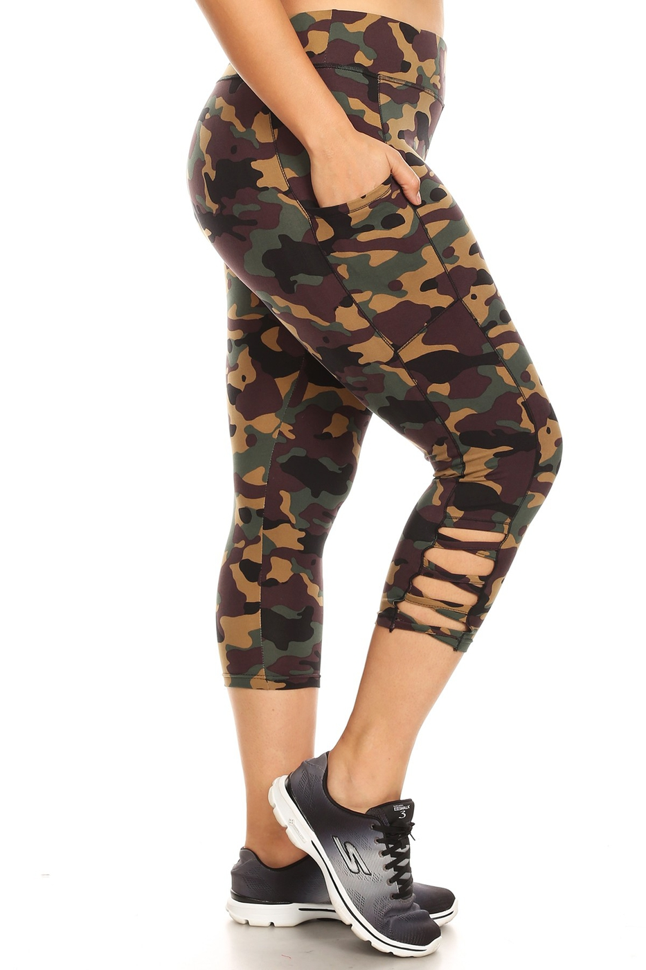 Plus Size Army Camo Leggings Capris - orangeshine.com