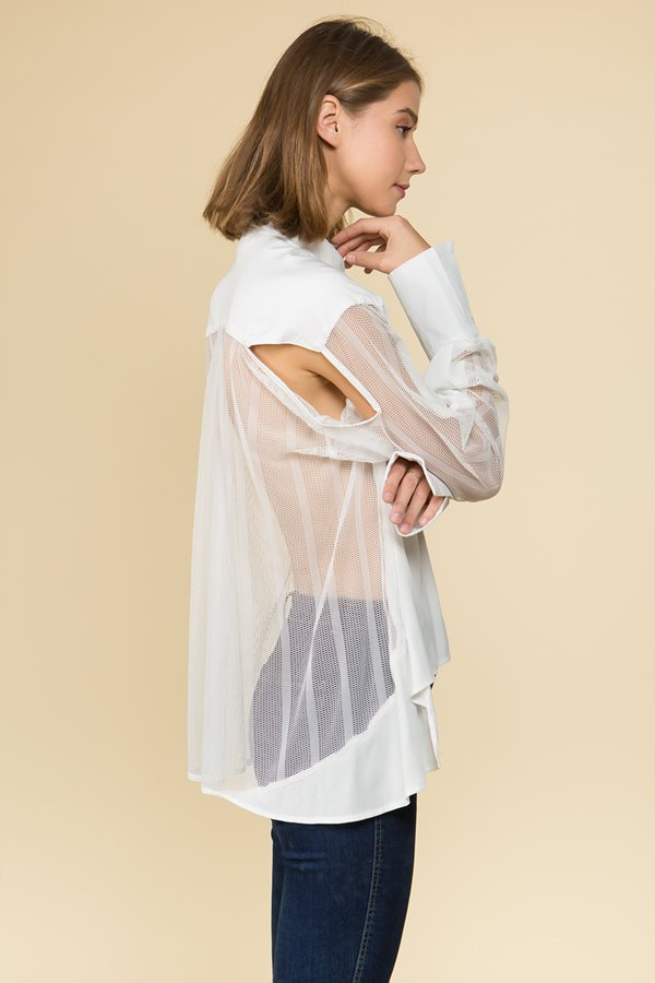 Button Down Mesh Asymmetircal Blouse - orangeshine.com