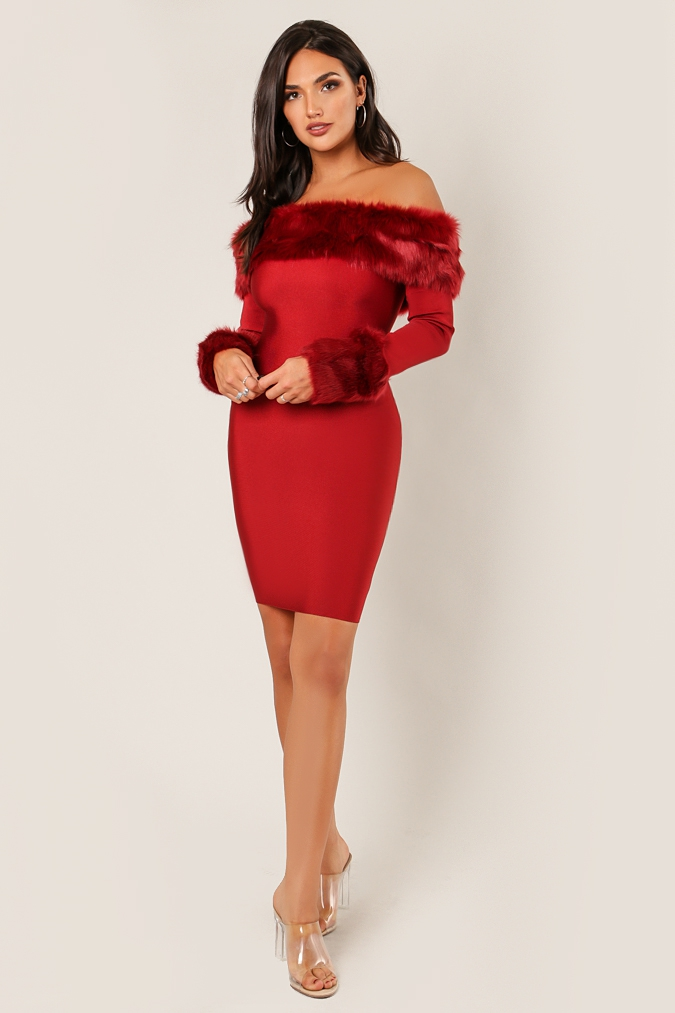 Faux Fur Long Sleeve Bandage Dress - orangeshine.com