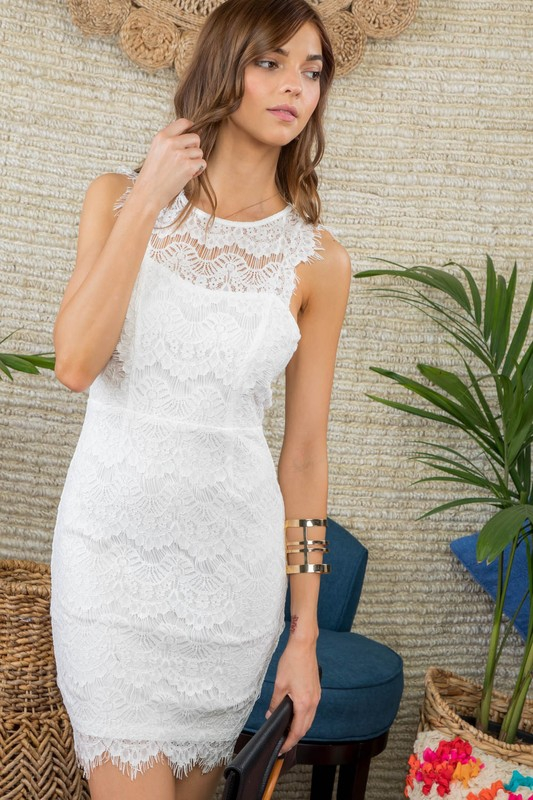 SCALLOP EDGE LACE MINI DRESS - orangeshine.com
