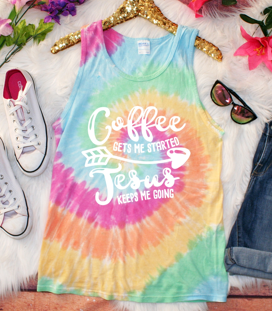 PLUS Coffee Started Jesus Tie Dye  - orangeshine.com