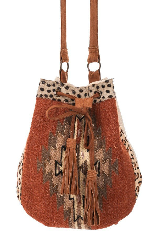 Native Suede Strap Woven Crossbody  - orangeshine.com
